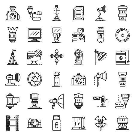 Photographer equipment icons set. Outline set of photographer equipment vector icons for web design isolated on white background