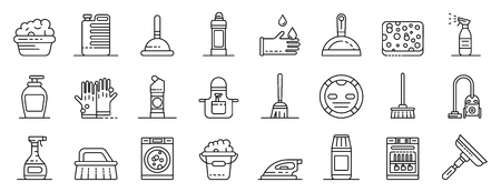 Cleaner equipment icons set. Outline set of cleaner equipment vector icons for web design isolated on white background Illustration