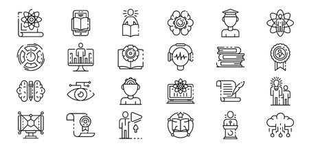 Interactive learning icons set. Outline set of interactive learning vector icons for web design isolated on white background Reklamní fotografie - 124755958