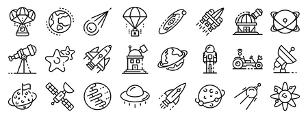 Space research technology icons set, outline style
