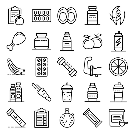 Sport nutrition icons set. Outline set of sport nutrition vector icons for web design isolated on white background Illustration