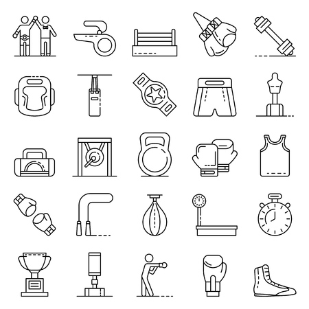 Boxing icons set, outline style