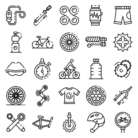 Cycling equipment icons set. Outline set of cycling equipment vector icons for web design isolated on white background Illustration