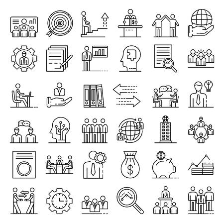 Ensemble d'icônes de gouvernance d'entreprise. Ensemble de contour d'icônes vectorielles de gouvernance d'entreprise pour la conception web isolé sur fond blanc Vecteurs