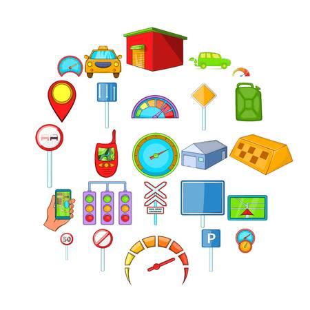 Automobile icons set. Cartoon set of 25 automobile icons for web isolated on white background Illustration