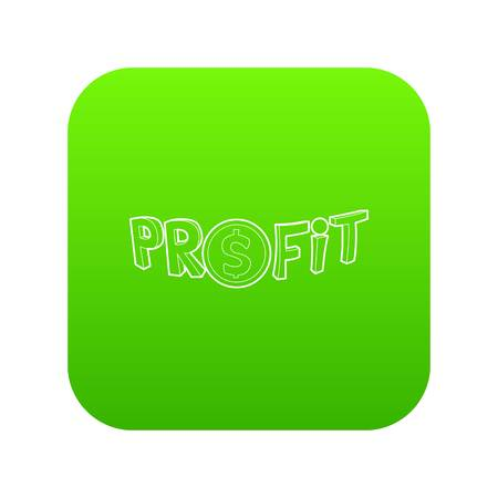 Profit word with a dollar sign icon green vector isolated on white background Illustration