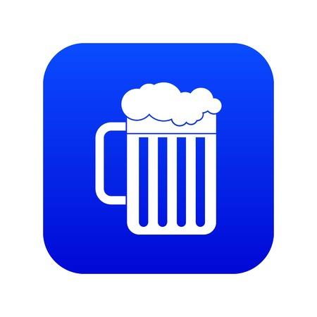 Beer mug icon digital blue