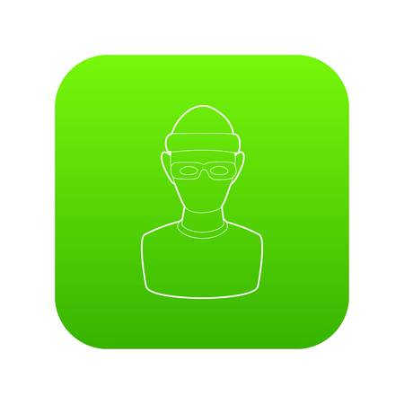 Theft icon green vector isolated on white background