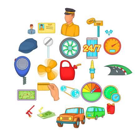Car icons set. Cartoon set of 25 car icons for web isolated on white background