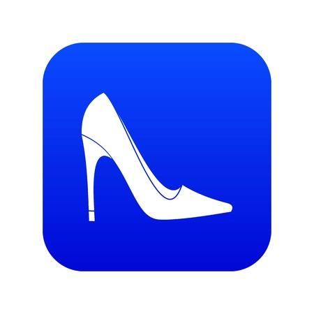 High heel shoe icon digital blue for any design isolated on white vector illustration Illustration