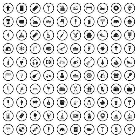 100 party icons set in simple style for any design vector illustration