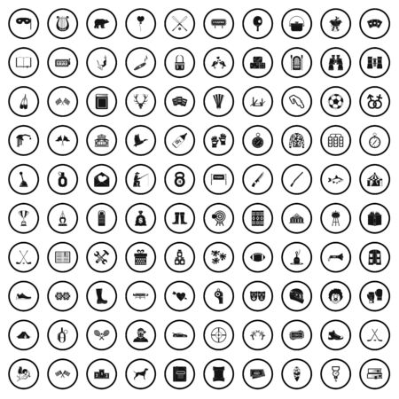 100 passion icons set, simple style