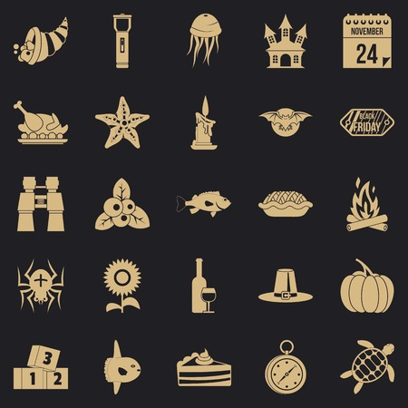 Autumn walk icons set. Simple set of 25 autumn walk vector icons for web for any design