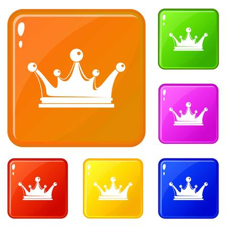 Crown icons set vector color Stock Illustratie