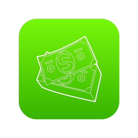 Dollar bills icon green vector isolated on white background
