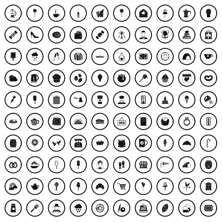 100 patisserie icons set in simple style for any design vector illustration Banque d'images - 124739154