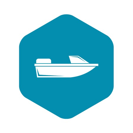 Sports powerboat icon in simple style isolated on white background. Sea transport symbol