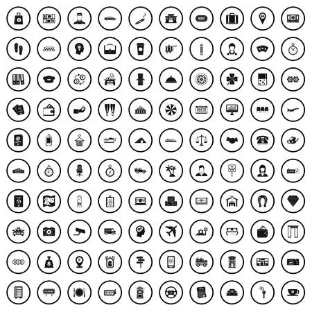 100 paying money icons set in simple style for any design vector illustration