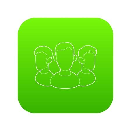 Office team icon green vector isolated on white background