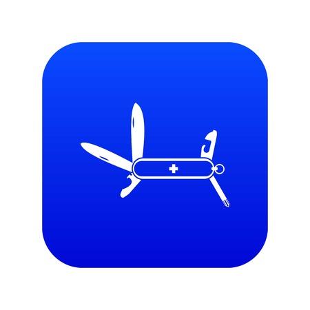 Swiss multipurpose knife icon digital blue for any design isolated on white vector illustration