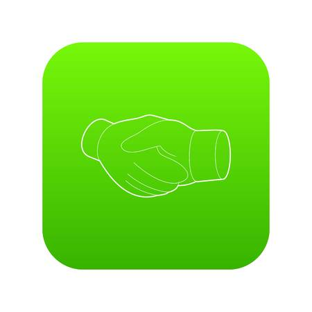 Handshake icon green vector isolated on white background