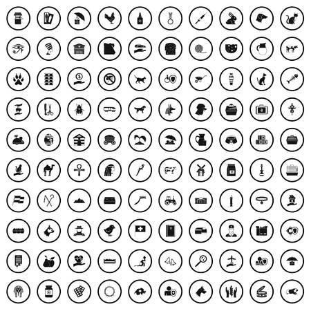 Set di icone di 100 animali domestici, stile semplice