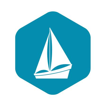 Small yacht icon in simple style isolated on white background. Sea transport symbol Illustration