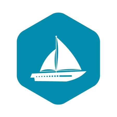 Sailing yacht icon in simple style isolated on white background. Sea transport symbol Illustration