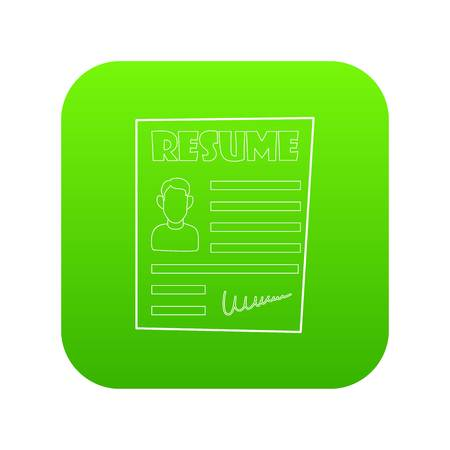 Resume icon green vector isolated on white background 일러스트