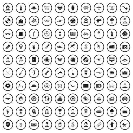 100 photo icons set, simple style