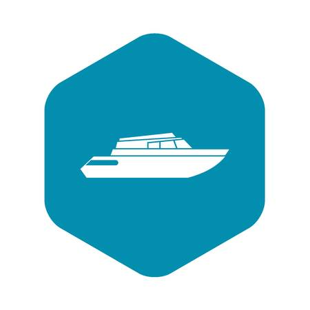 Planing powerboat icon in simple style isolated on white background. Sea transport symbol Stock Illustratie