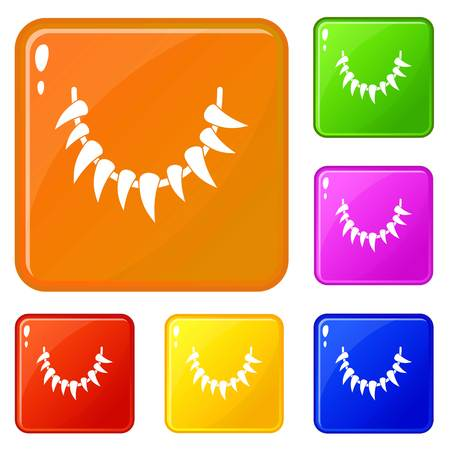 Tooth necklace icons set vector color