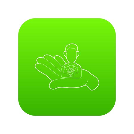 Hand holding a candidate for the job icon green vector isolated on white background