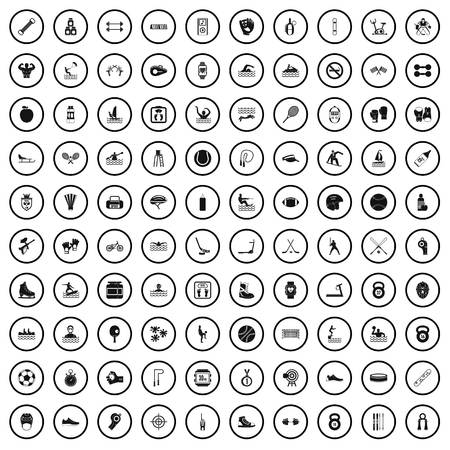 100 physical training icons set in simple style for any design vector illustration Illustration