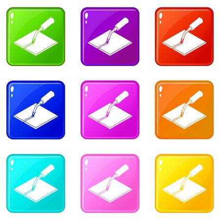 Welding torch icons set 9 color collection isolated on white for any design Ilustrace