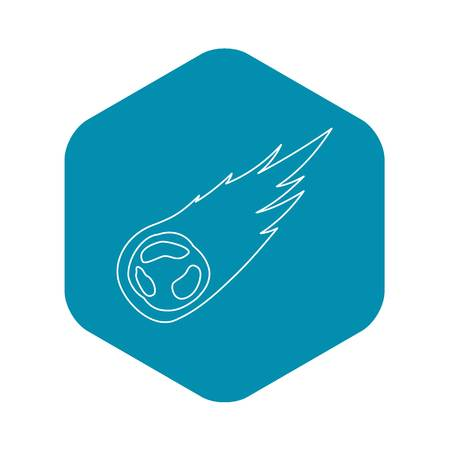 Falling meteor icon, outline style Illustration