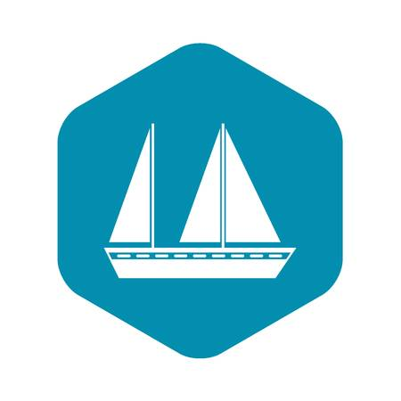 Sailing boat icon in simple style isolated on white background. Sea transport symbol