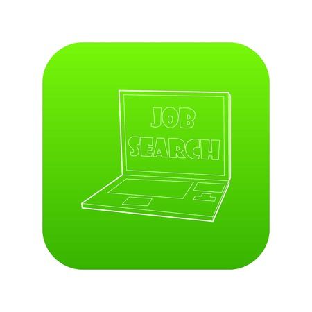Search job icon green vector isolated on white background