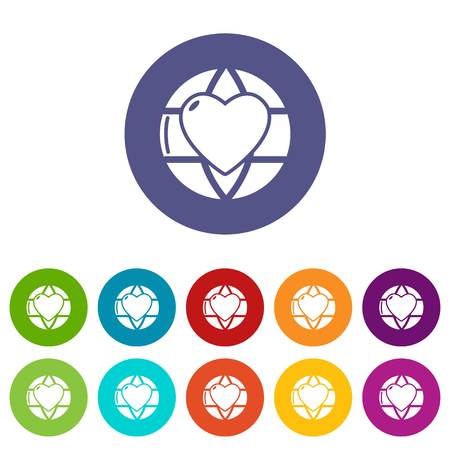 Planet heart icons color set vector for any web design on white background