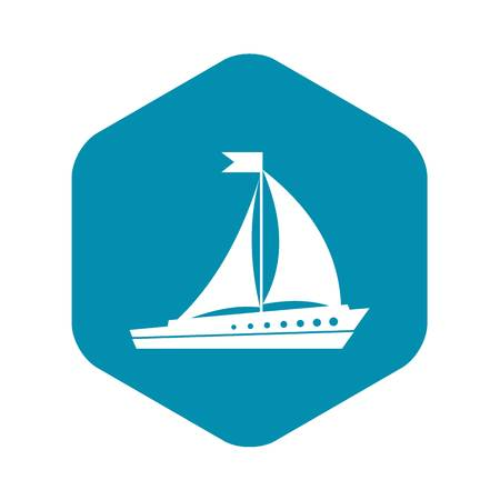 Sailing ship icon in simple style isolated on white background. Sea transport symbol Illustration