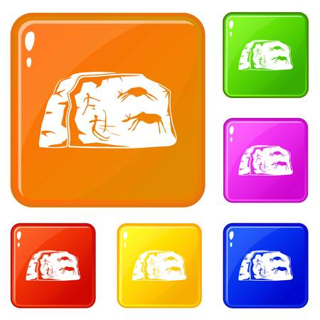 Cave painting icons set vector color Illustration