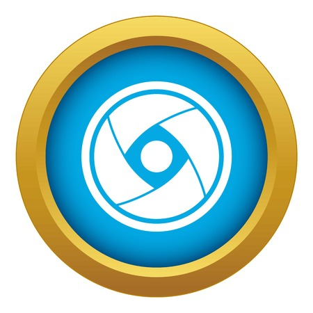 Camera lens icon blue vector isolated