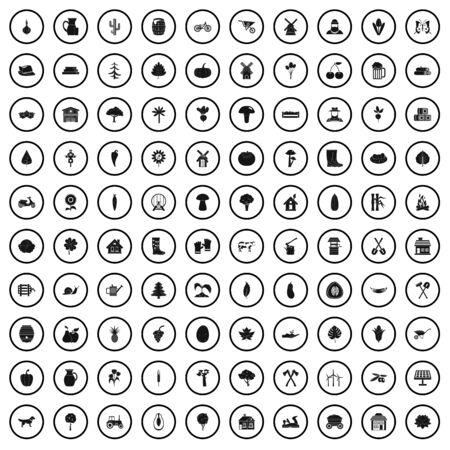 100 plantation icons set, simple style