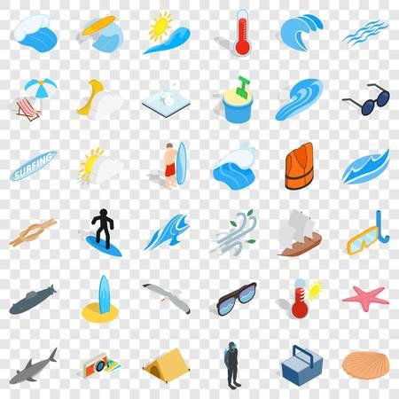Summer rest icons set, isometric style Illustration