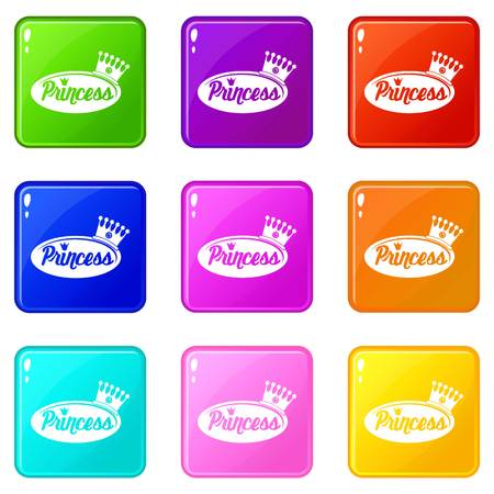 Word princess crown icons set 9 color collection