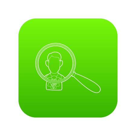 Businessman under magnifying glass icon green vector isolated on white background
