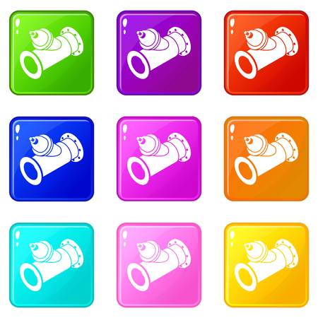 Without tap pipe icons set 9 color collection isolated on white for any design Banque d'images - 124739320