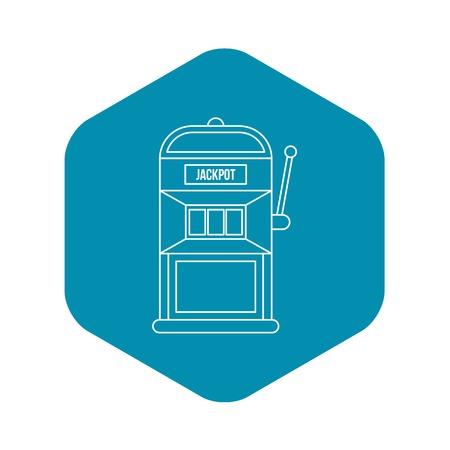 Slot machine icon. Outline illustration of slot machine vector icon for web