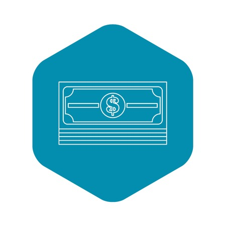 Money stack icon. Outline illustration of money stack vector icon for web