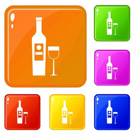 Wine icons set collection vector 6 color isolated on white background